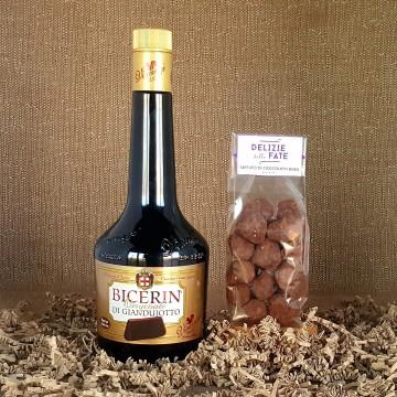 Bicerin di Giandujotto liqueur + Black Chocolate Truffle
