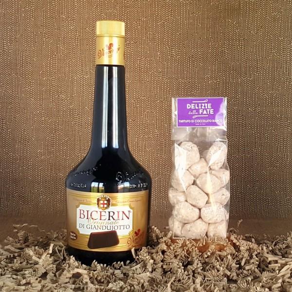 Liquore Bicerin di Giandujotto + Tartufo di Cioccolato bianco